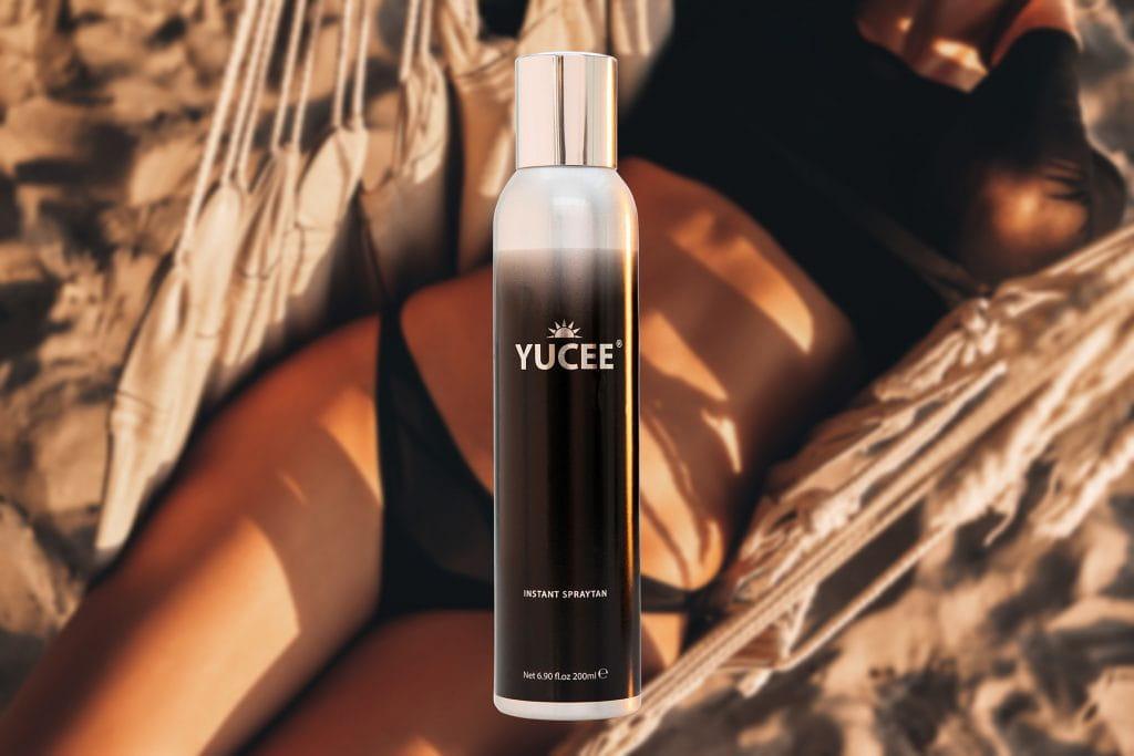 Gebruind lichaam met Yucee Tanning Spray